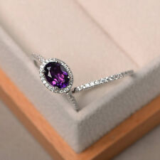 14K White Gold 1.94 Ct Natural Diamond Oval Cut Real Amethyst Band Set Size N M