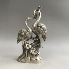 Chinese Antiques Tibetan silver hand-carved Red-crowned crane bird statue