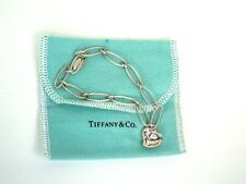 Tiffany  ELSA PERETTI  Sterling Carved Heart Link Bracelet * Tiffany Pouch