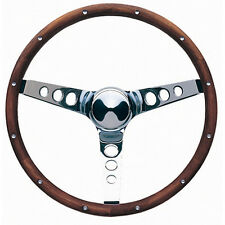 GRANT Chrome Steel 15 in Diameter Classic Wood Steering Wheel P/N 201