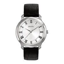 Bulova Dress Silver Dial Black Leather Band Men's Watch 96A133