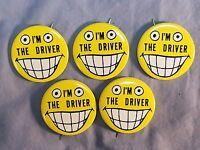 "Lot of 5 ""I'm The Driver"" Slogan Designated Driver Bus Driver 1 3/4"" Button Pin"