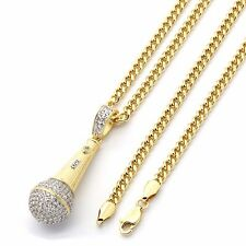 """Gold Plated Hip Hop Iced Out Mic Head Microphone Pendant w/ 3mm 30"""" Cuban Chain"""
