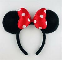 New Disney Parks Fuzzy Mickey Minnie Black Ears Red Polka Dot Bow Ears Headband
