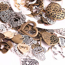50pcs Vintage Metal Mixed Hearts Charms Retro love Pendant for Jewelry Making