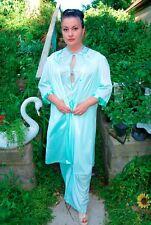 2pc Vintage Sears 70's Sheer Teal Blue Aqua Lace Robe Loungewear Jumpsuit L Set