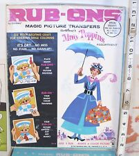 WALT DISNEY'S MARY POPPINS RUB ON TOY SET 1960s BOXED BY HASBRO