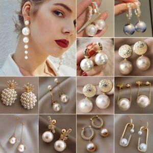 Fashion Pearl Crystal Ear Stud Earrings Drop Dangle Women Wedding Jewelry Gift