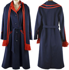 Vintage Wool Pea Coat Jacket Scarf S M Blue 60s Mackintosh Long Button Union USA