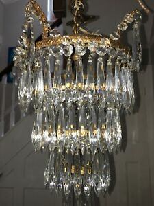 a antique waterfall icicle crystal chandelier