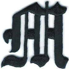 """1 1/8"""" Fancy Black Old English Alphabet Letter M Embroidered Patch"""
