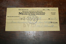 SECURITY FIRST NATIONAL BANK OF LOS ANGELES 1958 CHECK