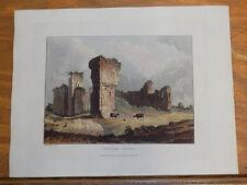 1821 Print, Aquatint Tour of English Lakes///PENRITH CASTLE