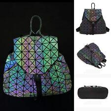 Women's Luminous Backpack Geometric Shinning in Dark Laser School Bags Hologram