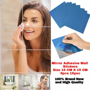 Mirror Tile Wall Sticker Square Self Adhesive Room Decor Stick On Modern Art