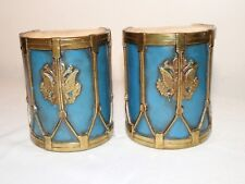 pair of antique figural Marion bronze co. clad signed MB military drum bookends