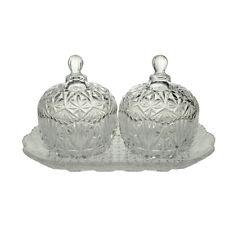 Classic Cut Glass Sugar Tea Spice Condiment Bowl Set 2 and Tray