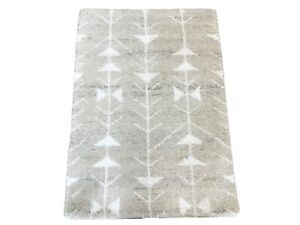2X3 Modern Gray Hand-Knotted Wool Area Rug Small Oriental Carpet