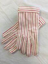 VINTAGE Wear-Right Nuplex Suede Ladies' Dress Gloves Red White Stripe Size 6 USA
