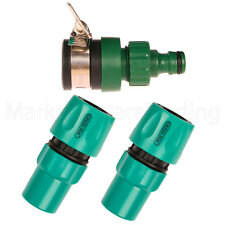 HOSE PIPE CONNECTOR KIT 3PC FOR HOUSE TAP QUICK FIX CLICK ON PLASTIC GREEN JEM