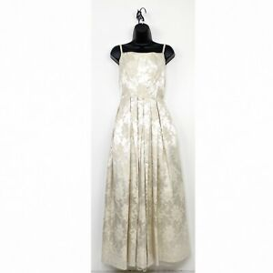 Gunne Sax Jessica McClintock Jacquard Wedding Dress Spaghetti Vintage Bridal 7/8