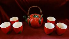 Antique Tomato Themed Teapot Set With 6 Cups