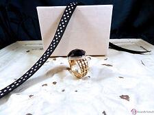 SARA BLAINE Monaco Onyx Ring ~ Sterling Silver & 18K GP ~ Size 9