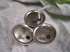 3 Wide Mouth Ball Mason Jar Lids Modified For Straw