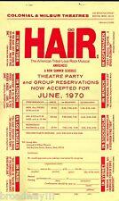 """Galt MacDermot """"HAIR"""" James Rado / Gerome Ragni '70 Boston Summer Schedule Flyer"""