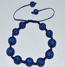 Swarovski Crystal Sapphire 12mm Pave Ball Beads Macrame Bracelet AS84