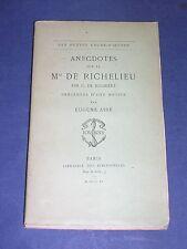 Librairie des bibliophiles imp. Jouaust  Anecdotes sur Richelieu 1890