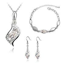Bridal Jewellery Set White Crystal Eyes Drop Earrings Necklace & Bracelet S281