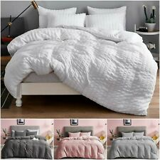 Seersucker Duvet Cover Set 100% Egyptian Cotton Bedding Sets Double King Size