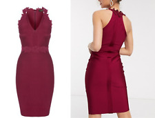 BNWT Lipsy Berry Lace Applique Trim V Neck Bandage Bodycon Dress UK10 RRP £60