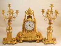 Garniture De Cheminée En Bronze Doré Masion Marnyhac XIX pendule clock uhr reloj
