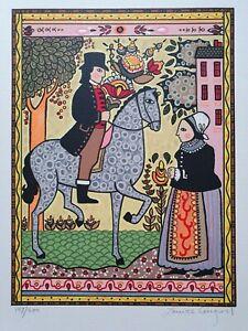 """Louise August Serigraph NY Artist """"The Courtship"""" Handsigniert Pferd Blumen"""