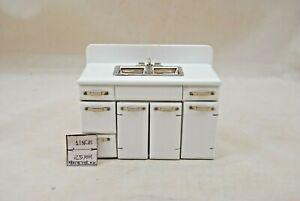 1950s Double Sink kitchen dollhouse miniature T5014 1/12 scale