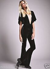 NEW Free People black Sugarhigh + Lovestoned Velvet Flare Leg Catsuit Romper XS