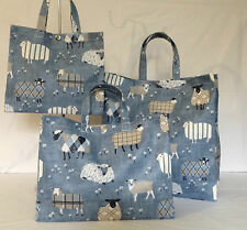 Nikki's Original Tote Bags 100% Cotton Oilcloth Baa Baa Sheep Denim Gloss