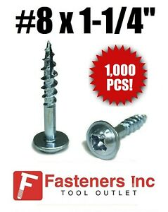"(Qty 1000) Kreg #8 X 1-1/4"" Zinc Coarse Thread Pocket Hole Screws Phil / Square"