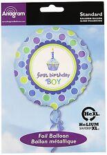 "Sweet Little Cupcake First Birthday Boy Foil Balloon Blue 18"""