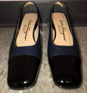 SALVATORE FERRAGAMO Cap Toe Slingback PUMPS Womens Size 8 Shoe Italy