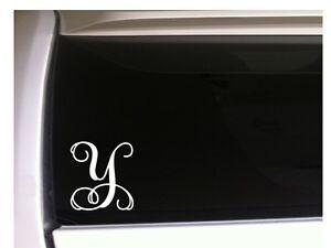 "Letter Y Initial Monogram vinyl sticker car decal 5"" L24 Gift Vine Name"