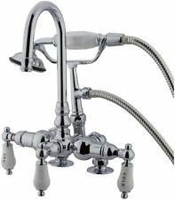 "3-3/8"" Deck-Rim Mount Clawfoot Tub Faucet with Hand Shower Chrome Finish"