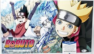 Boruto & Mitsuki signed 11x17 Photo Amanda Miller Robbie Daymond Naruto Beckett