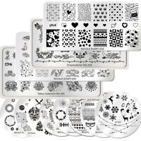 12Pcs/Set NICOLE DIARY Stamping Plates Snow Deer Heart Fish Image Nail Art DIY