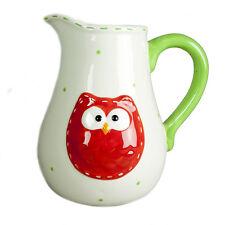 Keramik Creme rot & grün Eule Design Krug Creme Milch Wasserkrug Karaffe NEU