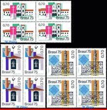 1409-11-Q BRAZIL 1975 HISTORIC CITIES, ART, CHURCHES, MI# 1505-07, BLOCKS MNH