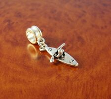 Kayak boat charm slider bead for silver European charm bracelet or necklace