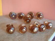 Lot 10 Anc Poignées boutons de porte de meuble en verre et cuivre années 50
